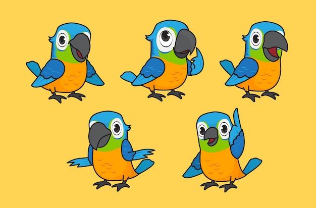Jeu d'illustrations vectorielles de perroquet mignon caractère