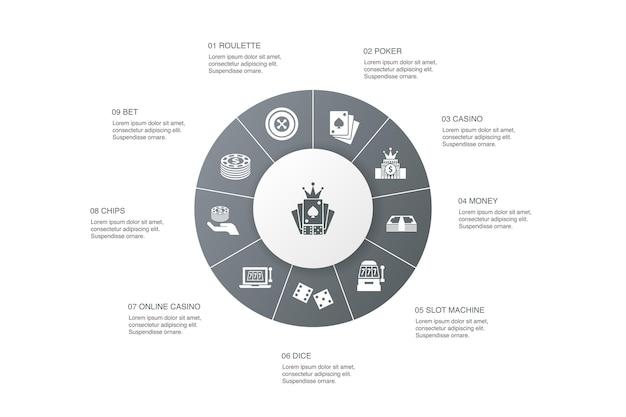 Jeu d'infographie 10 étapes cercle design.roulette, casino, argent, icônes simples de casino en ligne