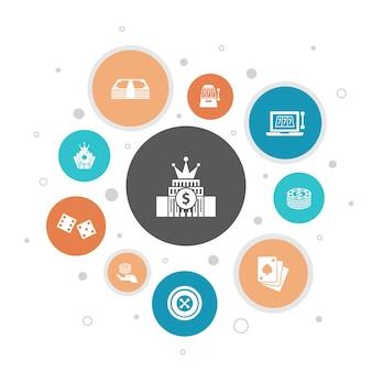 Jeu d'infographie 10 étapes pixel design.roulette, casino, argent, icônes simples de casino en ligne