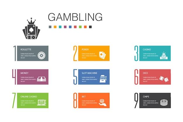 Jeu d'infographie 10 ligne d'options concept.roulette, casino, argent, icônes simples de casino en ligne