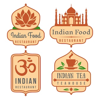 Jeu d'insignes de café indien.