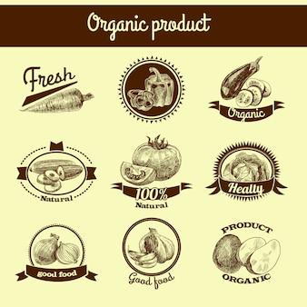 Jeu d'insignes de croquis de légumes