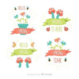 Jeu d'insignes de printemps aux champignons et aux pots de fleurs