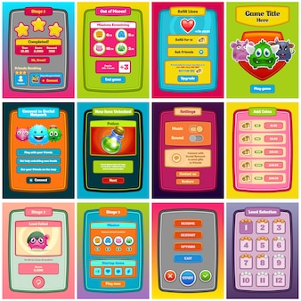 Jeu d'interface. interface utilisateur de jeu pour la conception web et les jeux informatiques. .