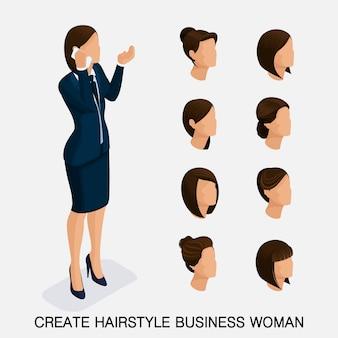 Jeu isométrique tendance 3, coiffures pour femmes. jeune femme d'affaires, coiffure, couleur de cheveux, isolée. créer une image