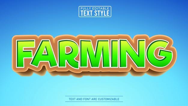 Jeu de jardinage et d'agriculture et effet de texte modifiable de titre de dessin animé