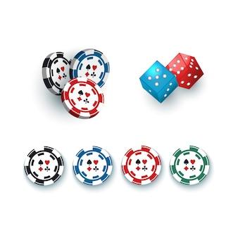 Dés de jeu et jetons de casino