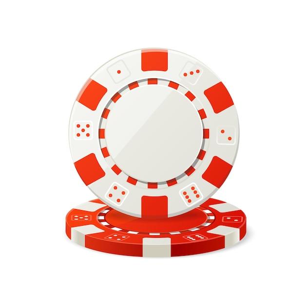 Jeu de jetons de poker rouges et blancs isolés.