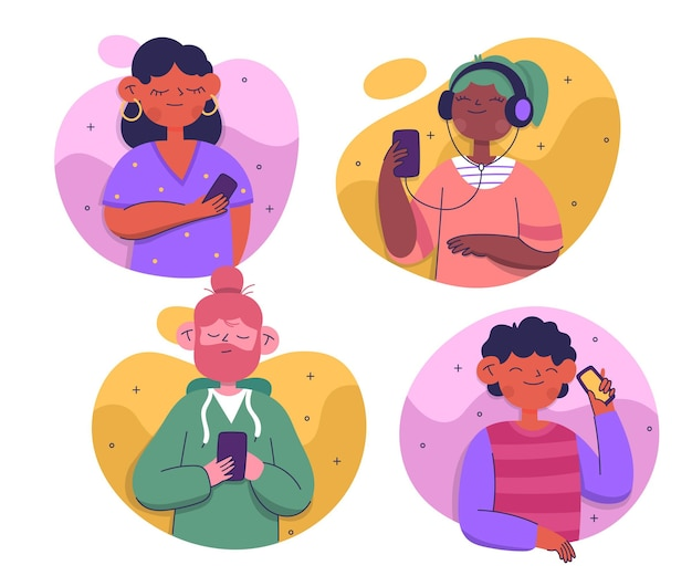 Jeu de jeunes à l'aide de smartphones