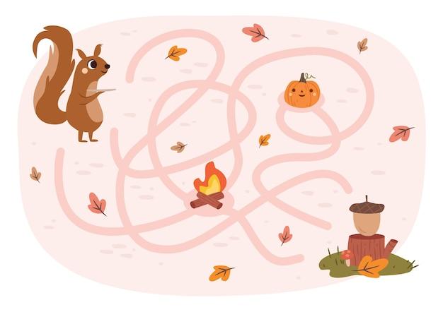 Jeu de labyrinthe d'automne
