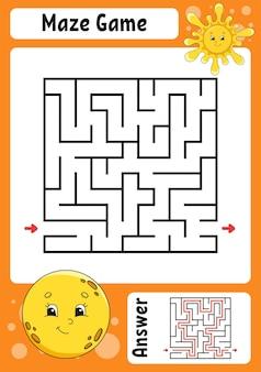 Jeu de labyrinthe carré pour les enfants