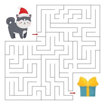 Jeu de labyrinthe avec chien husky et cadeau de noël