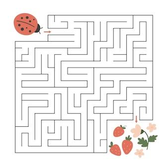 Jeu de labyrinthe avec coccinelle et fleurs de printemps