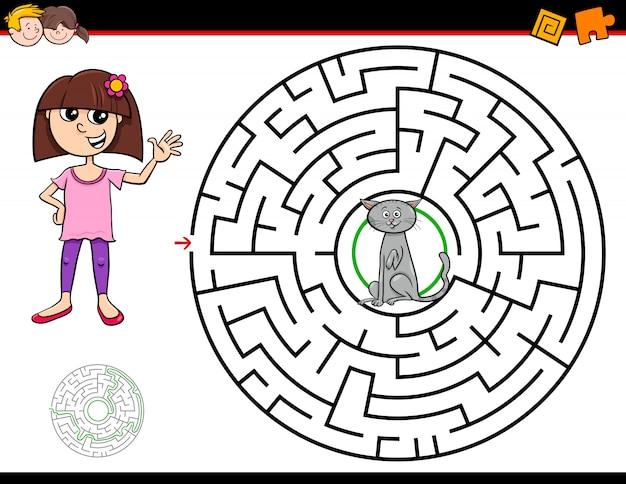 Jeu de labyrinthe en dessin animé avec fille et chat