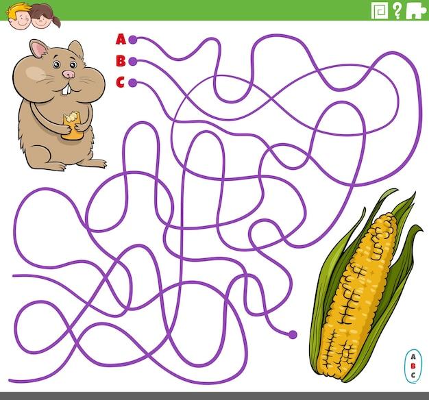 Jeu de labyrinthe éducatif avec épi de maïs de hamster de dessin animé