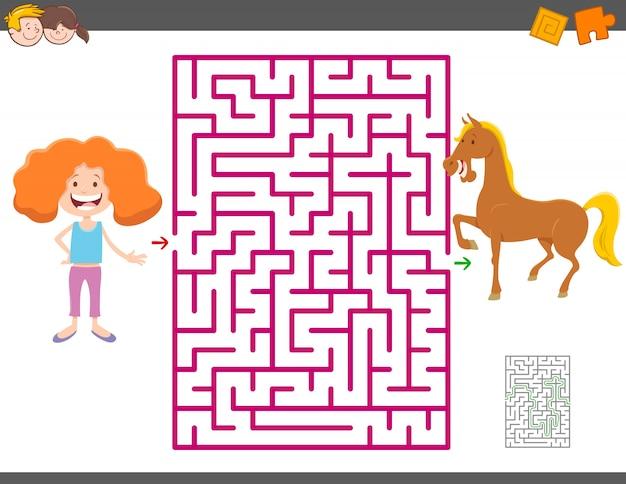 Jeu de labyrinthe avec une fille en dessin animé et un cheval