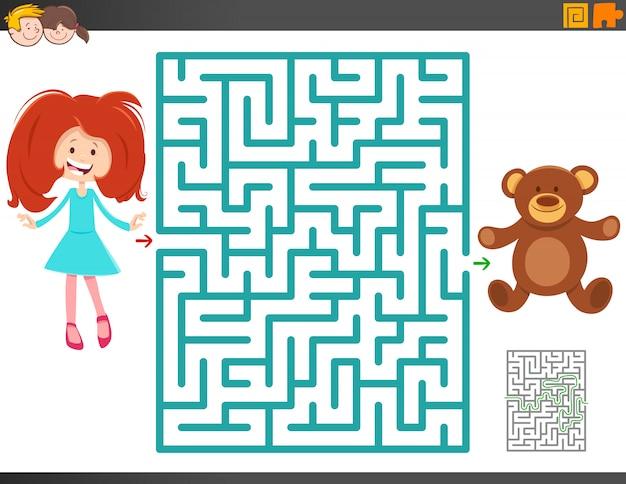 Jeu de labyrinthe avec une fille en dessin animé et un ours en peluche