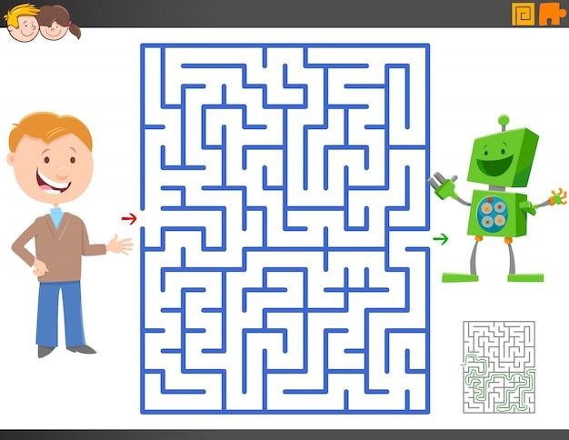 Jeu de labyrinthe avec un garçon de la bande dessinée et un robot jouet amusant