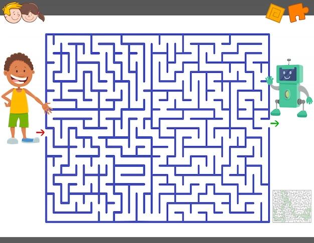 Jeu de labyrinthe avec garçon de dessin animé et robot jouet