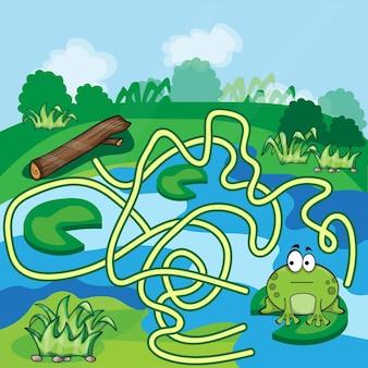 Jeu de labyrinthe de grenouilles - aidez la grenouille à trouver son chemin - vecteur