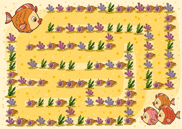 Jeu de labyrinthe, jeu éducatif pour enfants, poisson