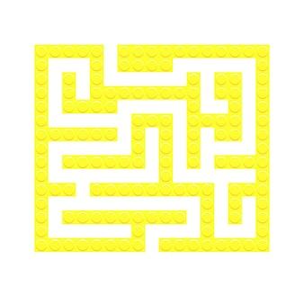 Jeu de labyrinthe de jouets de briques jaunes de labyrinthe carré pour les enfants énigme de logique de labyrinthe