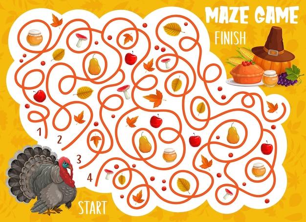 Jeu de labyrinthe de labyrinthe de thanksgiving, oiseau de dinde, tarte d'automne, feuilles et récolte. le casse-tête des enfants vectoriels aide la dinde à trouver le moyen de faire tomber la récolte. feuille de travail pour les enfants avec chemin emmêlé et merci de donner des articles