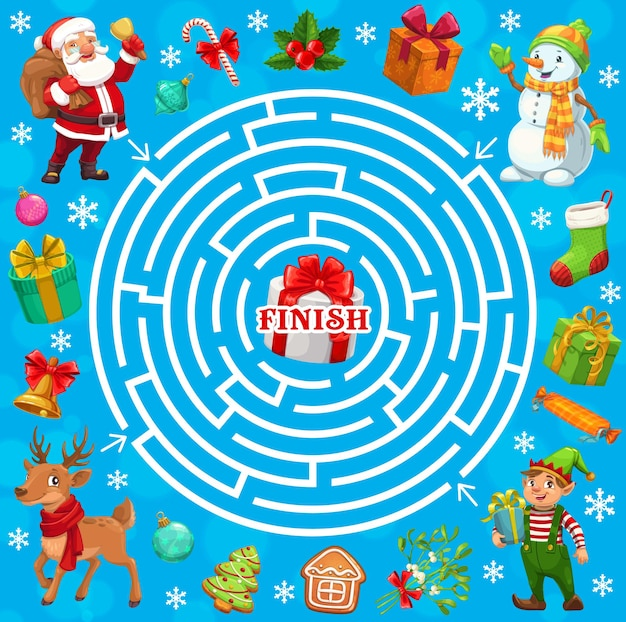 Jeu de labyrinthe de labyrinthe de vacances de noël, santa, elfe
