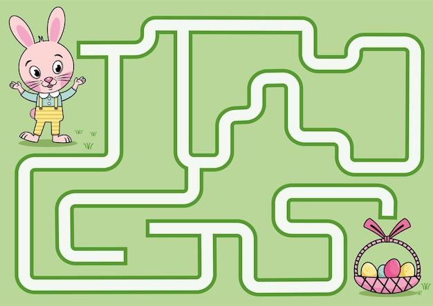 Jeu de labyrinthe de lapin de pâques pour les enfants vector illustration