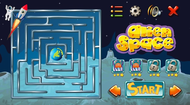 Jeu de labyrinthe avec modèle de thème spatial