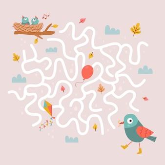 Jeu de labyrinthe d'oiseaux