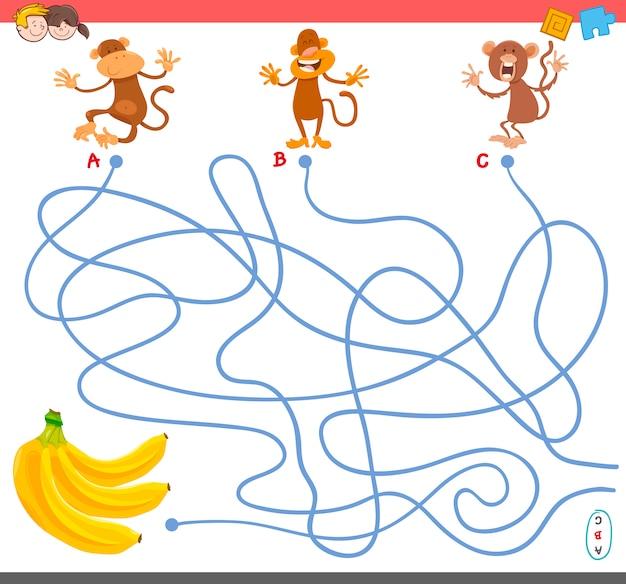 Jeu de labyrinthe avec des personnages de singe