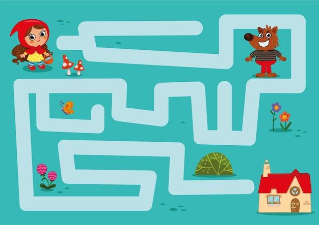 Jeu de labyrinthe peux-tu aider le petit chaperon rouge à retrouver la maison de sa grand-mère