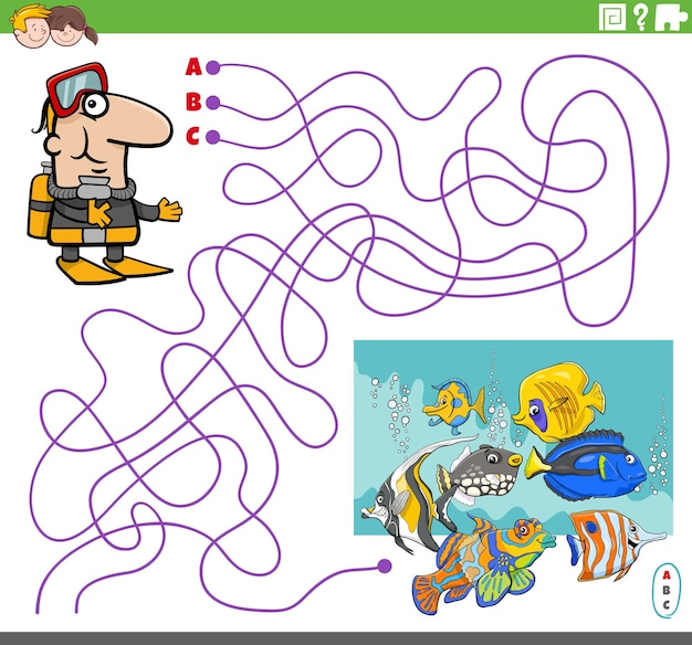 Jeu de labyrinthe avec plongeur de dessin animé et poissons tropicaux
