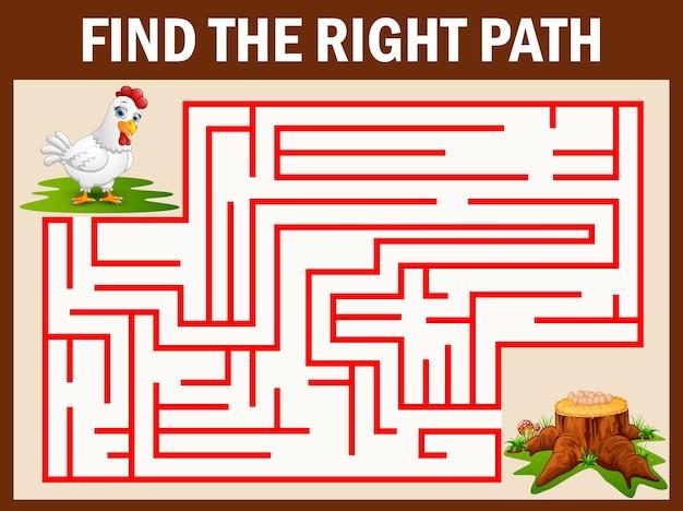 Jeu de labyrinthe: la poule part aux œufs