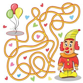 Jeu de labyrinthe pour enfants aide le clown à atteindre les ballons