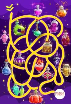 Jeu de labyrinthe pour enfants avec des bouteilles de potion, puzzle de labyrinthe vectoriel pour trouver le bon jeu de société. tâche avec chemin enchevêtré et flacons magiques de dessin animé. jeu de société éducatif pour enfants, énigme pour activité préscolaire