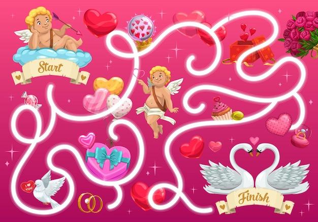 Jeu de labyrinthe pour enfants avec des cupidons de la saint-valentin et des objets de fête