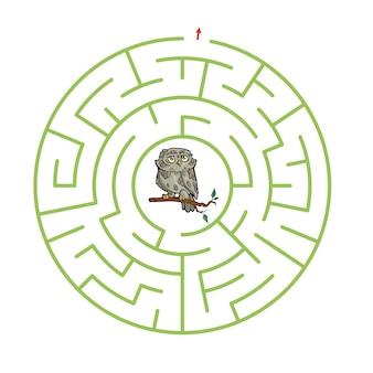 Jeu de labyrinthe pour les enfants feuille de travail de dessin animé mignon
