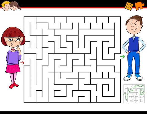 Jeu de labyrinthe pour enfants avec fille et garçon