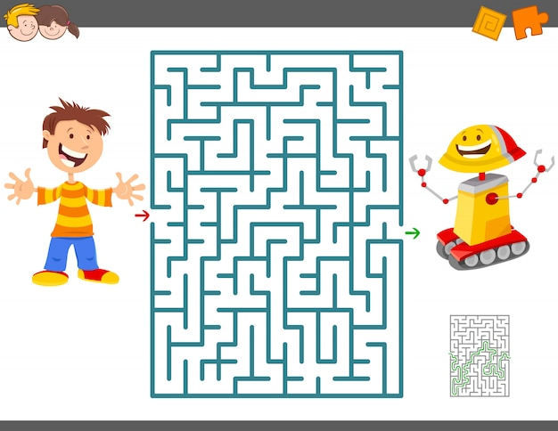 Jeu de labyrinthe pour enfants avec garçon et son robot jouet