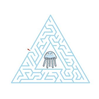 Jeu de labyrinthe pour enfants illustration de feuille de calcul de dessin animé mignon