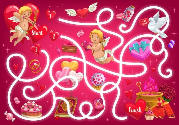 Jeu de labyrinthe pour enfants, labyrinthe de la saint-valentin avec des cupidons et des objets de fête