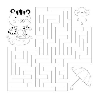 Jeu de labyrinthe pour les enfants avec un parapluie de tigre de dessin animé mignon et un nuage pluvieux