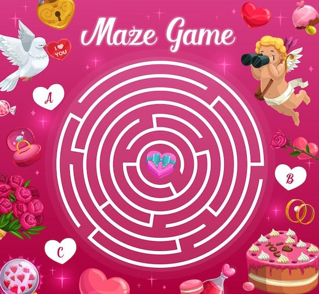 Jeu de labyrinthe pour enfants thème de la saint-valentin