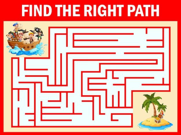 Jeu de labyrinthe pour trouver un groupe de garçons pirates sur l'île au trésor