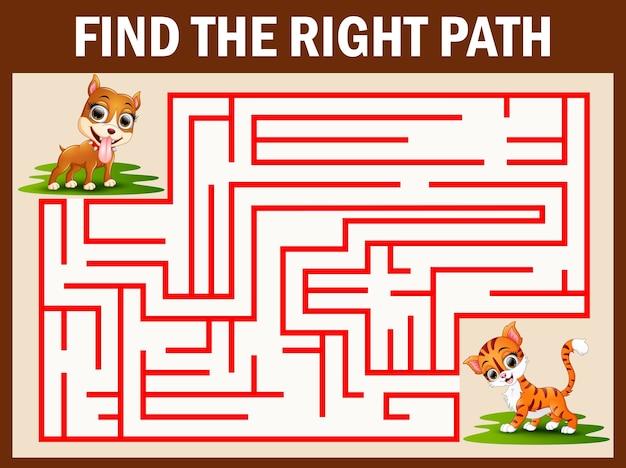 Jeu de labyrinthe pour trouver le moyen d'attraper un chat