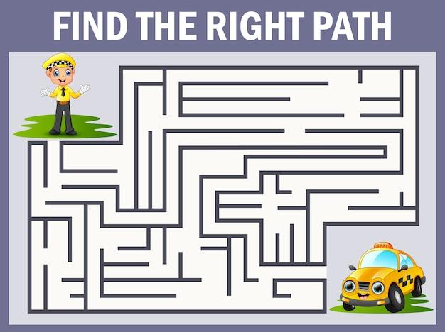 Jeu de labyrinthe trouve le chemin du chauffeur au taxi