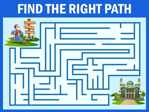 Jeu de labyrinthe trouve le chemin de l'homme à la mosquée