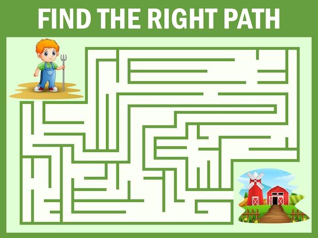 Jeu de labyrinthe trouve le chemin de petit fermier se rendre à la ferme